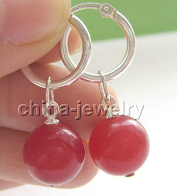 E4653-12mm natural perfect round red jade earring - 925 silver hoop