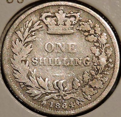 British Silver Shilling - 1864 Die #68 - Queen Victoria - $1 Unlimited Shipping