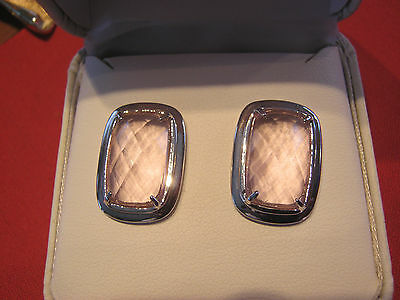 Sterling silver pierced earrings with pastel pink stones, new in box