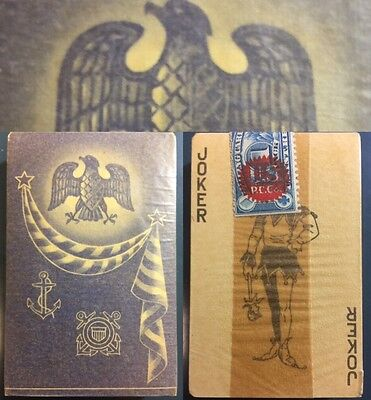 c1944 WW2 U.S. Navy Antique Sealed Playing Cards Gold Edged Rare Military Deck
