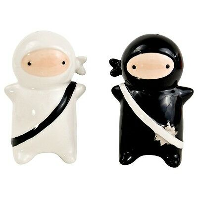 Ninja Ceramic Salt and Pepper Shakers - Black and White - By 180 Degrees