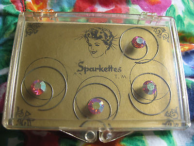 vtg 50's SPARKETTES PINK RHINESTONE HAIR accents SWEATER PIN TWIST 4 PCS
