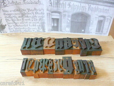 20 Holzbuchstaben  Stoffdruck Stempel Vintage wood letters antique 100 years