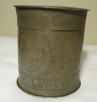 Antique Floral Embossed Brass ? Seamless Can Lined W / Tin Possibly Tea Containr