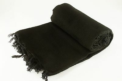 Hand Woven Solid Color Black Imported Warm Mexican Yoga Blanket Throw Cover