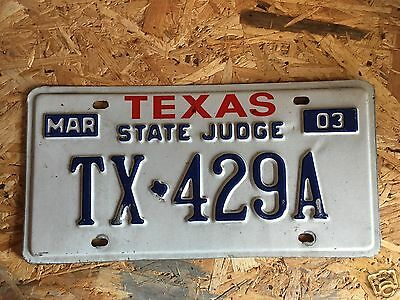 License Plate Texas State Judge Court Legal Law - Collectible Americana Usa Tags