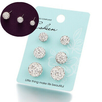 3Pair White 6mm 8mm 10mm Sparkle Round Crystal Disco Ball CZ Beads Stud Earrings