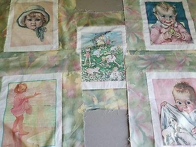 Vintage Children Fabric Picture Panels  Total of 5 OOP 100% cotton