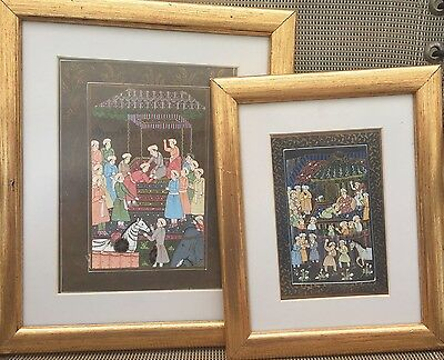 Two Vintage  Mughal Indian Indo-Persian  Paintings