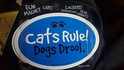 Cats Rule! Dogs Drool - Blue - Oval Magnet, Car Magnet, Euro Magnet, USA Made