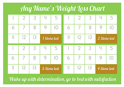 Personalised Weight Loss Chart - 4 stone - Laminated - 1 x sheet of stickers