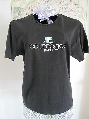 ORIGINAL Vintage Courrèges Paris Courrege T-Shirt schwarz