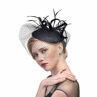 ZYCCVintage Feather Fascinator Looped Flower Veil Hat Hair Clip Wedding Party