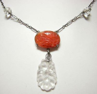 Vintage Chinese 1920's Carved Rock Crystal & Carnelian Necklace Sterling Silver