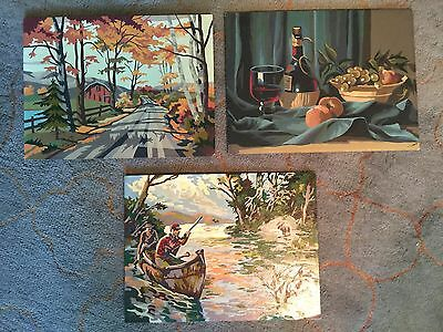 Lot of 3 ~ Vintage Paint By Numbers (12x16) Unframed Hunter, Autumn & Still Life