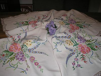 Vintage Embroidered Linen Tablecloth =Exquisite Raised Floral Embroidery.