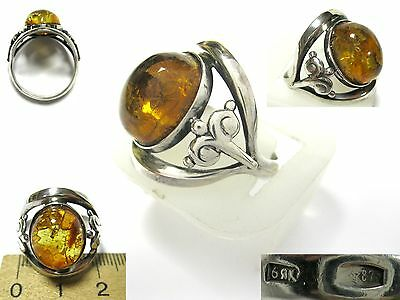 SILVER Ring size 9.25 Starstamp 875 AMBER Stone total 5,29g Soviet Russian USSR