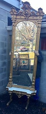 Carved Gold Marble Top Pier Mirror