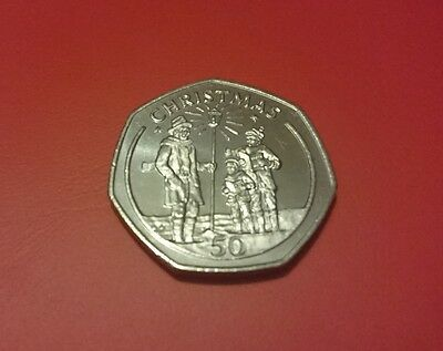 1991 Gibraltar Christmas Coin 50p Fifty Pence Coin UNC