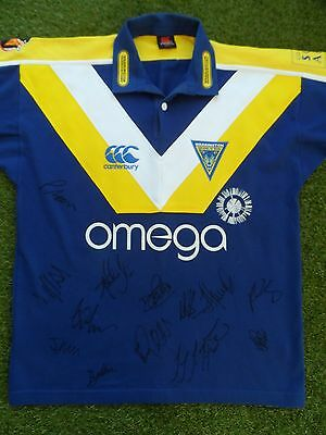 Warrington Wolves Shirt Hand Signed by 2017 Squad - COA - Rugby - 14 Autographs