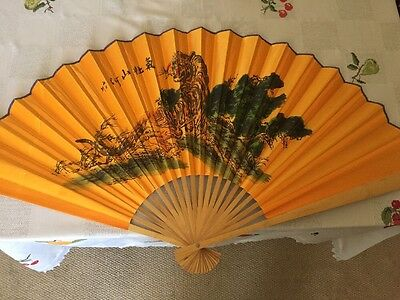 Chinese Fan Wall Art Tiger Hand Painted 44 X 24 Inches