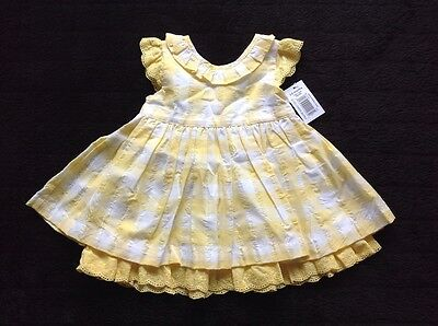 baby girls dress size 3-6 months yellow and white