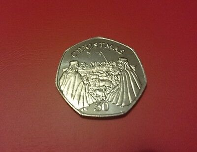 2002 Gibraltar Christmas Coin 50p Fifty Pence Coin UNC Shepherds