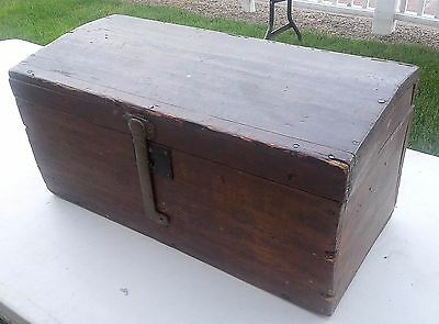 Primitive Antique Wooden Dome Top Box For Document Or Tools From Maine