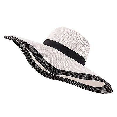 YUUVE Ladies Summer Straw Hat Fedora Floppy Sun Hat Large Wide Brim Beach Cap