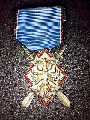 WW1 Polish Haller's Swords Decoration for Americans Marked 1918 - Poland Medal
