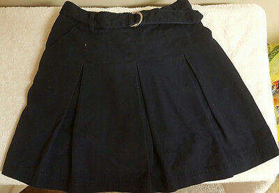 Chaps Girl's Navy Blue Pleated Front School Uniform Skirt with Buckle Size 14