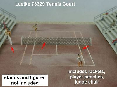 Luetke 73329 Z Scale Tennis Court Rackets Benches Judge Chair Kit NEW
