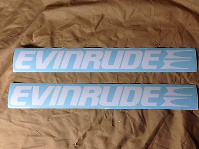 "2 Evinrude Outboard Motor Decal Sticker 14"" White FREE SHIP"