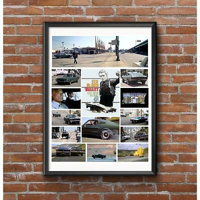 Bullitt Movie Chase Scene Collage Poster - Car Cult Film