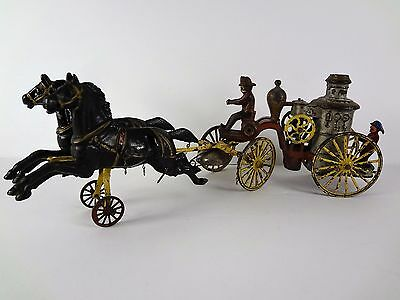 "20"" Vintage WILKINS FIRE PUMPER - Antique Cast Iron Toy Horse Drawn Wagon"