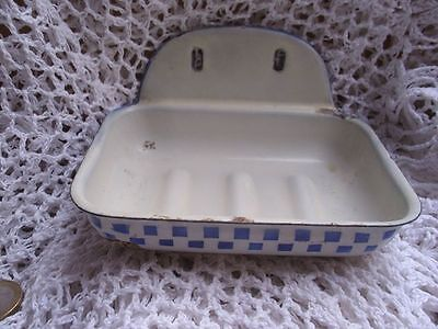 Vintage French Toleware Blue & White Checked Enamel Soap Dish.