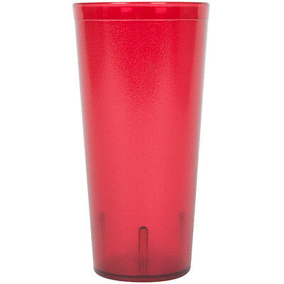 (12-Pack) 24 oz. Red Round Pebbled Plastic Restaurant Drinking Glass Tumblers