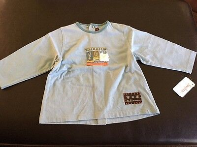 Catimini Baby Boy Long Sleeve Top Designer Blue Size 12 Months NWT