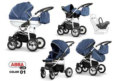 Baby  Pram LEATHER Pushchair Buggy Stroller + Car Seat Modern Travel System 3in1