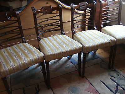 Spectacular Set Of 4 Antique Georgian Regency Mahogany Dining Chairs