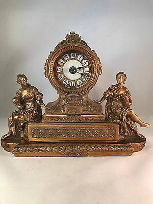 Antique Replica Ornate French Style Mantel Shelf Clock  Women Gold Color