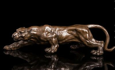 16 inches Bronze Ferocious African Leopard panther Cheetah Animal Statue