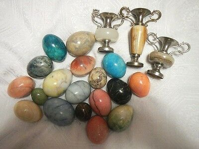 Stone Polished Mineral Eggs Lot of 18 and 3 Miniature Urn Vases Metal& Carved