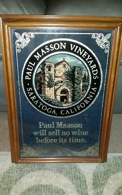 Vintage Paul Masson Premium California Wine Mirror Sign Man Cave Bar Restaurant
