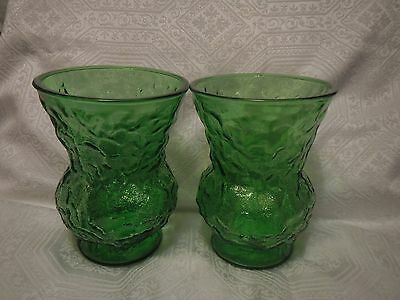 "E.O. Brody Co. Cleveland Ohio Green Depression Glass Vases Lot of 2, 8"" Tall"