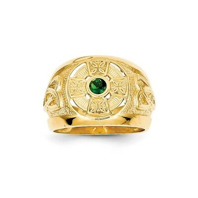 14k Mens Celtic Cross with Green Synthetic Stone Center Ring