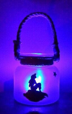 Ariel Mermaid Inspired Silhouette Handmade Frosted Glass Jar