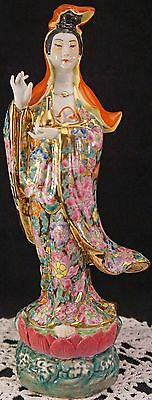 Antique Kwan Yin Porcelain Statue Vivid Flowers Gold Accents Lotus @ Feet Signed