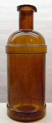Beautiful Amber Master Ink Bottle David's Company 1886 Old Antique Blown Glass