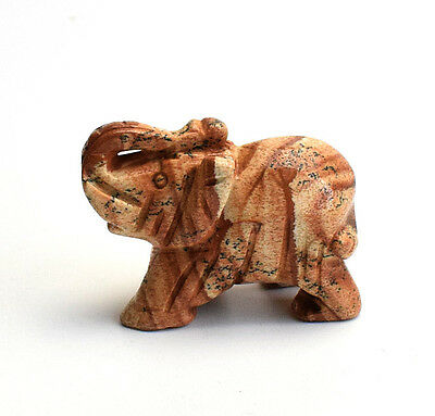 2.0 INCHES Natural Picture Jasper Carved Crystal Reiki Healing Elephant Figurine